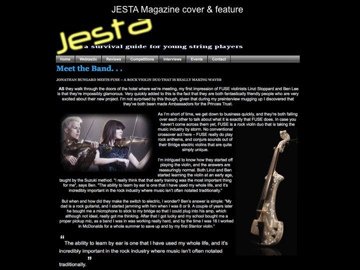 Fuse electric violinists - Jesta Magazine - Cover and Feature
