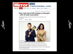 linzi stoppard gold plated violins fuse electric violinists daily mirror FUSE duo