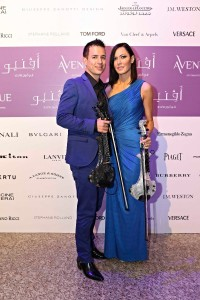 Corporate event entertainment - Fuse violinists arriving for their headline performance in Abu Dhabi....