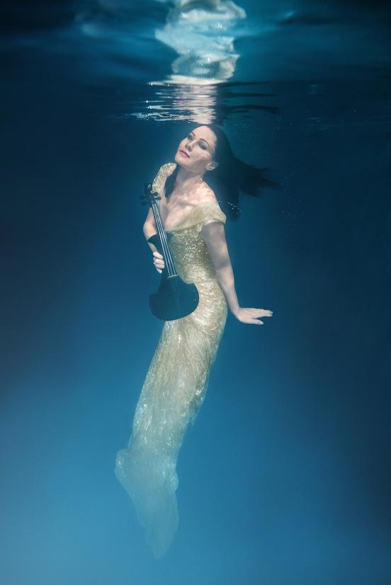 linzi stoppard fuse violinist underwater shoot gold dress 5